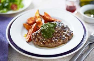 Chimichurri Rump Steak with Paprika Wedges