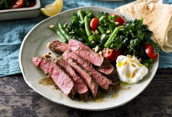 Spiced Beef Rump with pine nuts and Greek yogurt