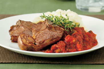 Grilled Lamb Loin Chops with Eggplant Parmagiana