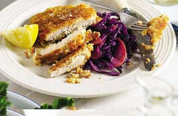 Pork Schnitzels With Apple And Red Cabbage Sauerkraut