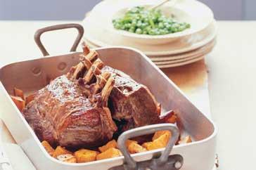 Veal rack with minted peas & roast pumpkin