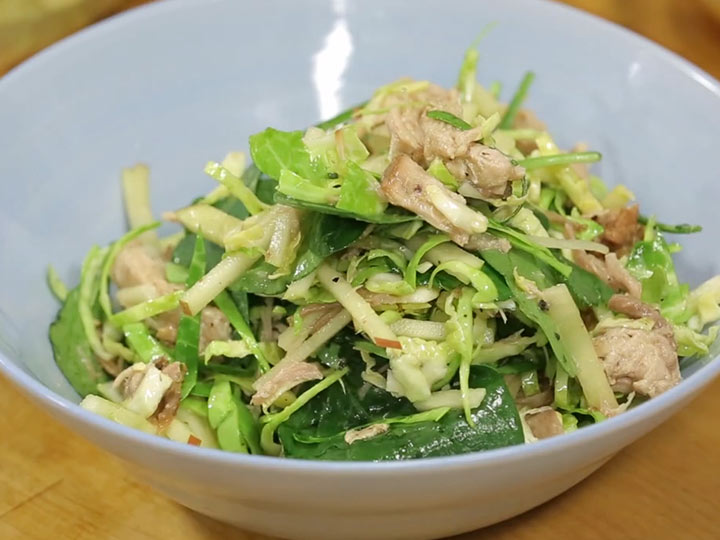 Sarah Tiong's pulled pork, brussel sprout & apple salad