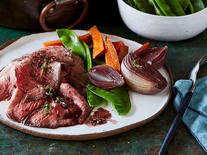 Roast bolar blade beef with mustard and red wine