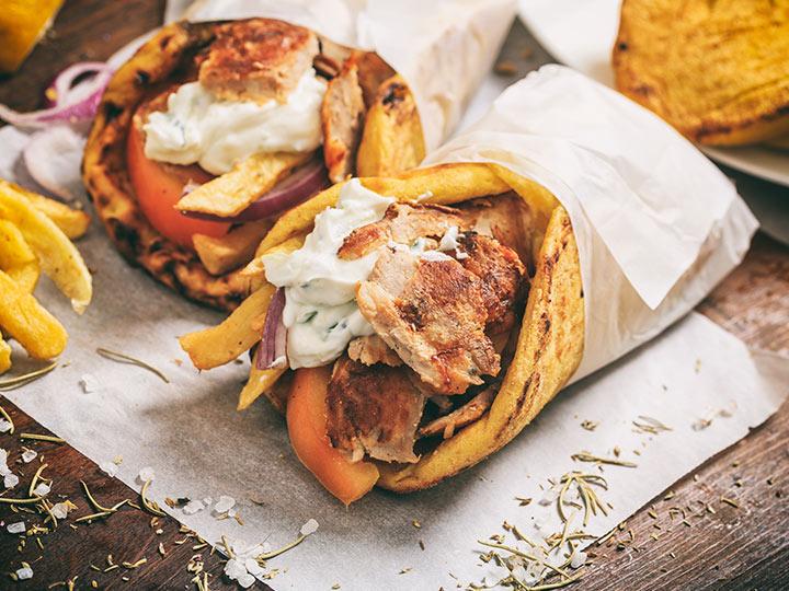 Chicken kebab souvlaki with tzatziki