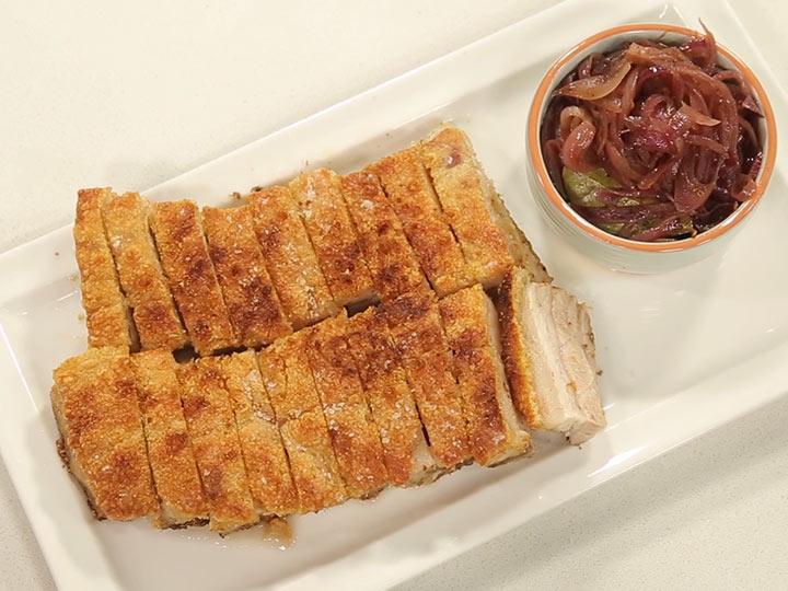 Sarah Tiong's crispy pork belly with onion chutney