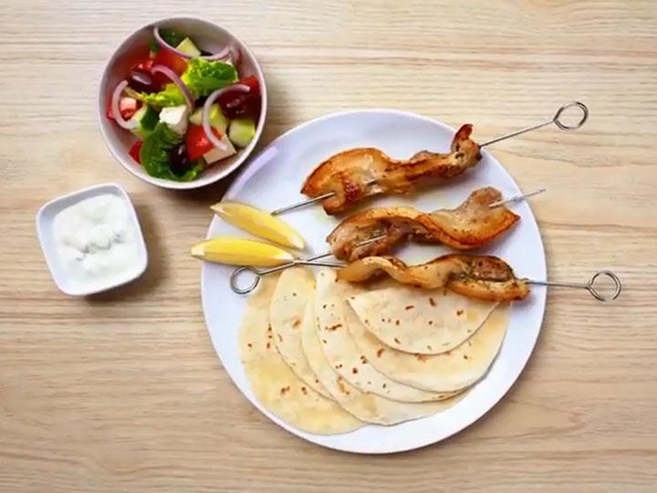 Greek pork belly skewers