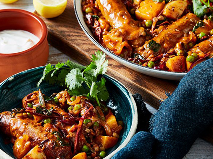 Indian sausage, lentil & potato one-pan
