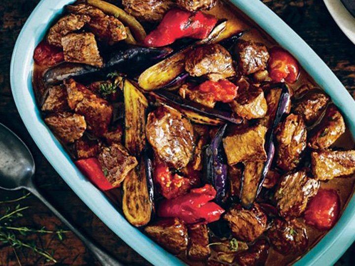 One-pot beef casserole with roasted eggplant