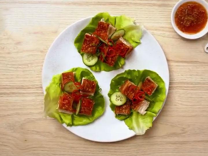 Pork belly lettuce cups