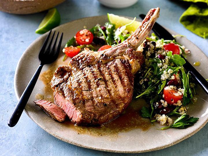 Beef rib-eye with quinoa and bean salad