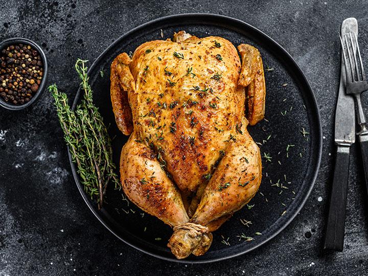 Simple juicy roasted chicken