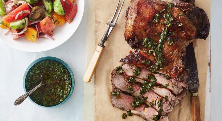 Butterflied lamb leg with zesty garlic chermoula sauce