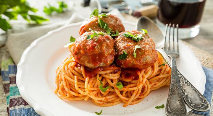 Italian meatballs and spaghetti