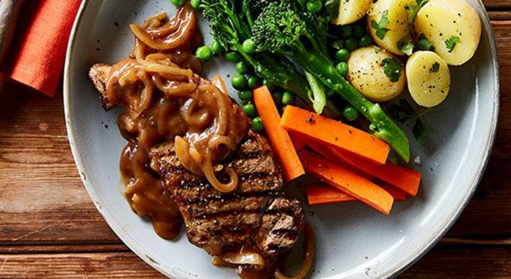 Porterhouse steak and onion gravy