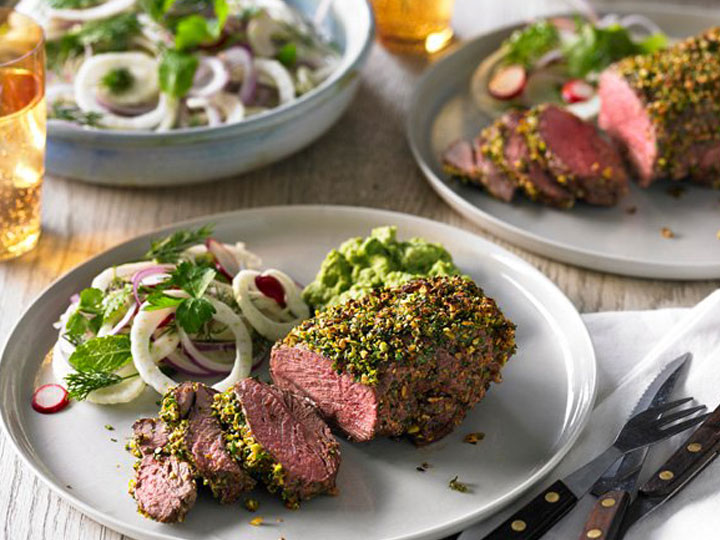 Herb and pistachio crusted lamb rump