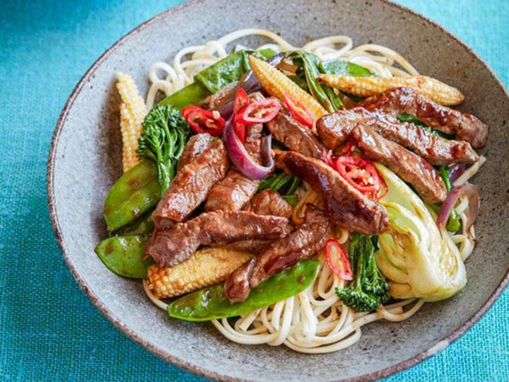 Mongolian lamb steak stir fry