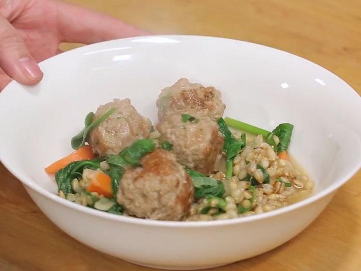 Sarah Tiong's pork meatball and pearl barley soup