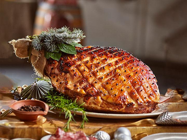 Apple cider glazed Christmas ham