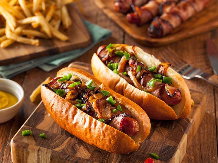 Fancy bacon wrapped sausage hotdogs
