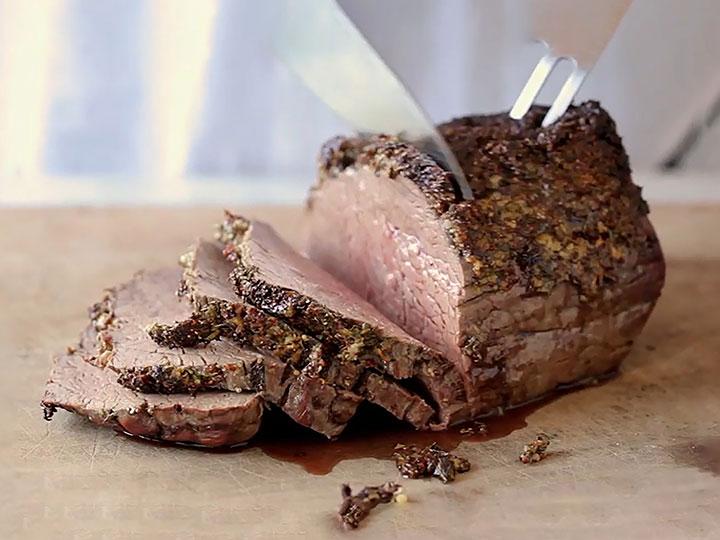 Herb crusted beef weber roast
