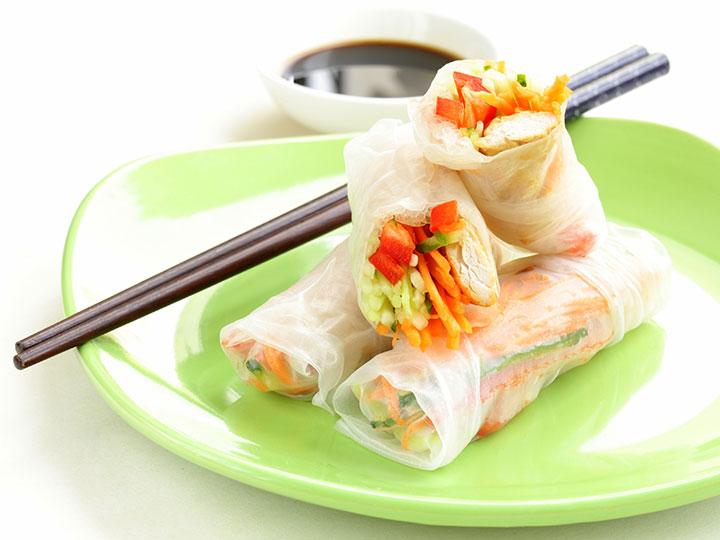 Chicken salad rice paper wraps