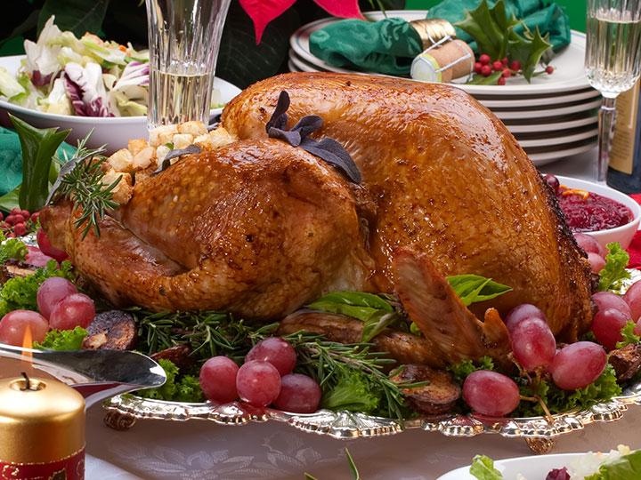 Classic turkey roast with eggnog stuffing & walnut potato salad