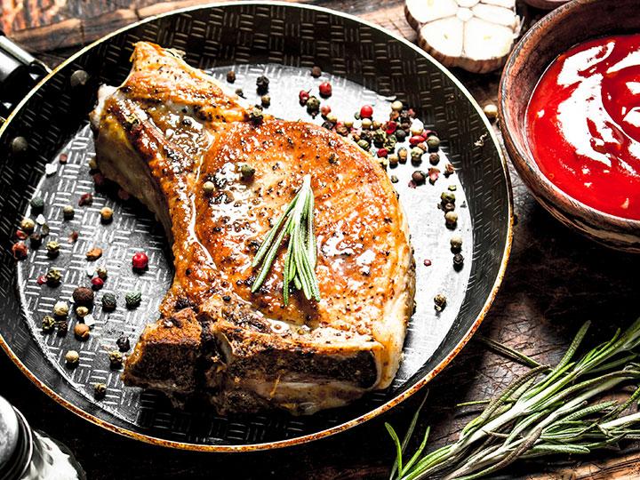 Grilled pork loin chops greek style