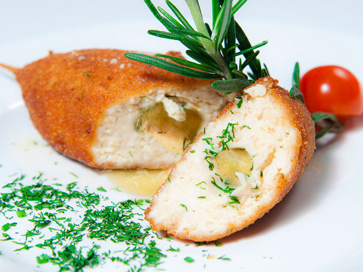 Easy chicken kiev with pesto green beans