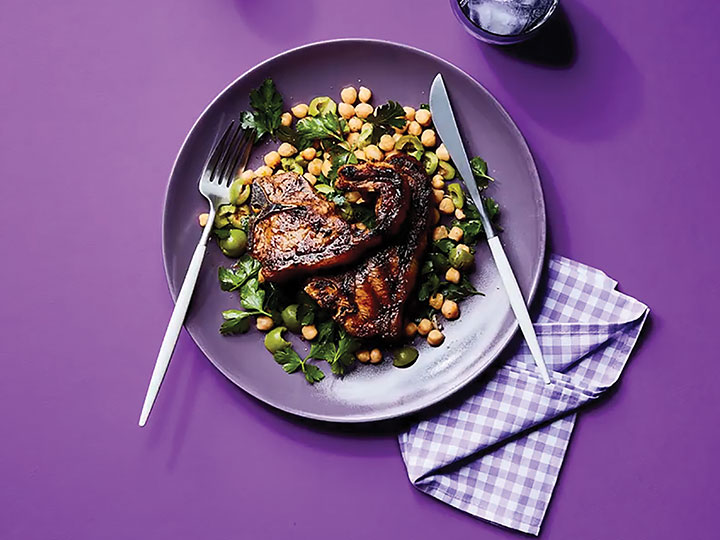 Marinated lamb loin chops with chickpea salad