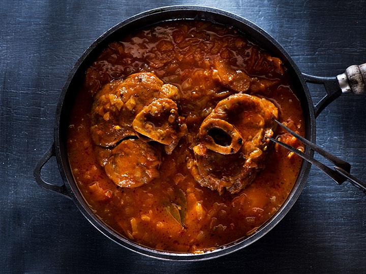 Osso bucco casserole with tomato and chilli