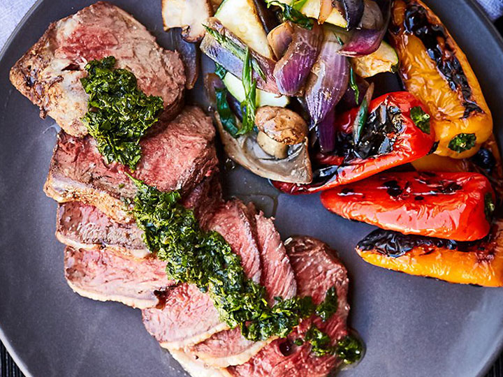 Barbecued rump with chimichurri & roasted peppers
