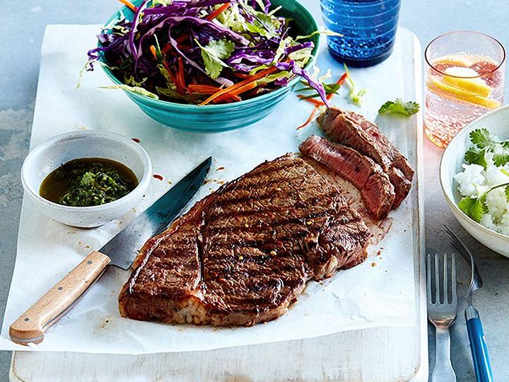 Rump steak with coriander sauce and asian slaw