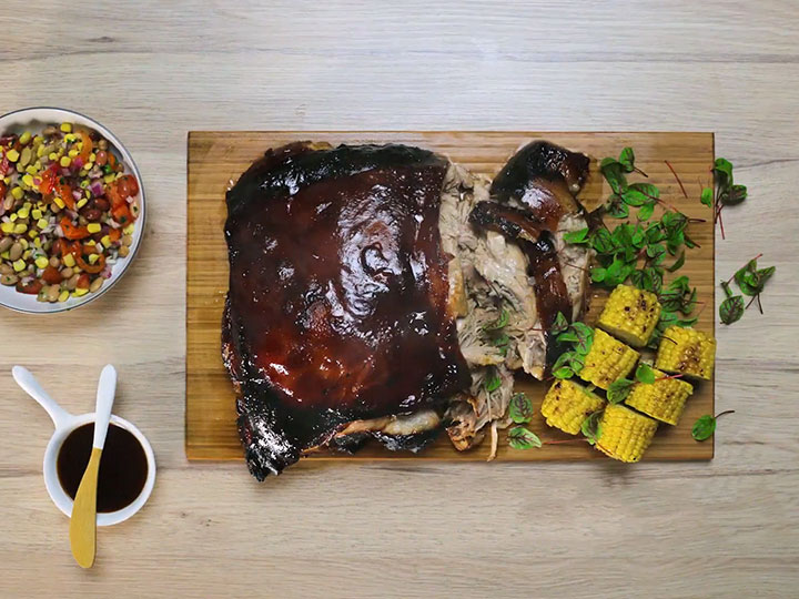 Hoisin glazed slow roasted pork shoulder