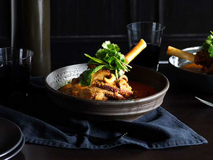 Thai style lamb shank red curry