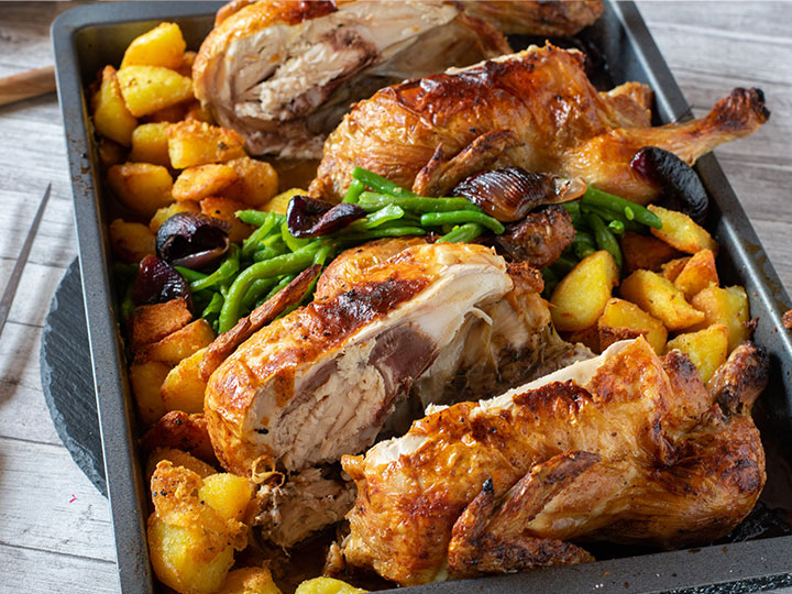 Lemon and thyme twin roast chickens