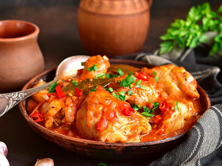 Georgian chakhokhbili chicken thigh stew