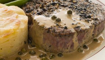 Rump Steak with Creamy Peppercorn Sauce