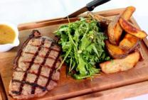 Grilled Steak with Wedges and Pepper Gravy