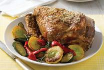 Roast Lamb with Roasted Zucchinis, Squash & Capsicum