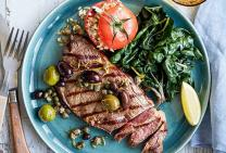 Char-grilled rump steak with mixed olive sauce