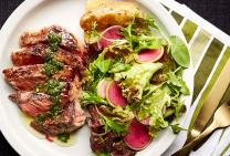 Chargrilled scotch fillet steaks, kipfler potatoes, salad & salsa