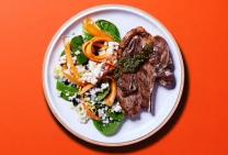 Lamb BBQ chops with pesto and couscous