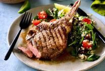 Beef rib-eye with quinoa and bean salad