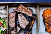 BBQ beef ribs with hassleback pumpkin & salad