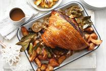 Spiced pork leg & gravy with roasted pears