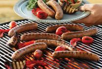 Barbecued sausages with capsicum and tomato salsa