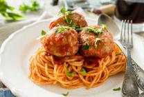 Italian meatballs and spaghetti