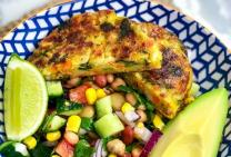 Vegie Pattie with boosted bean salad