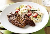 Pesto lamb BBQ chops with risoni salad