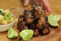 Sarah Tiong's honey soy pork skewers
